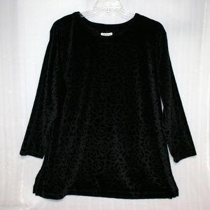 EUC Sz 18/20 Black Velour Roses Tunic Top